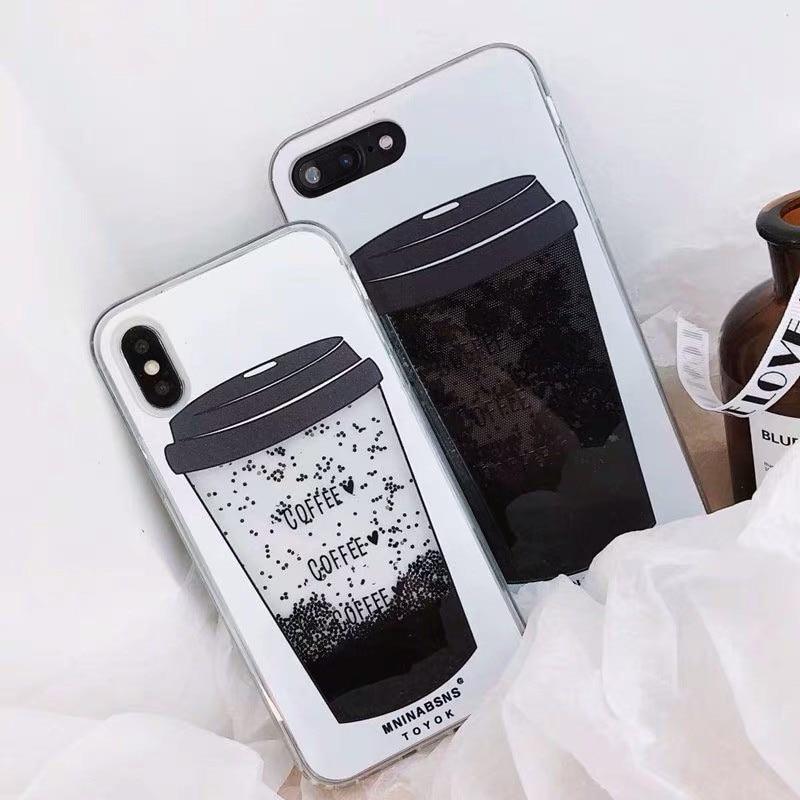 bc38b769933 Dynamic Liquid Coffee Cup Quicksand funda para teléfono para iPhone 6 6 s 7  8 Plus fundas de polvo negro brillante para iPhone X XS X XR.
