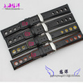 20mm 1pcs New High quality Black Smooth Genuine Leather Watch Bands Straps Bracelets Silver Deployment Clasp For Brand