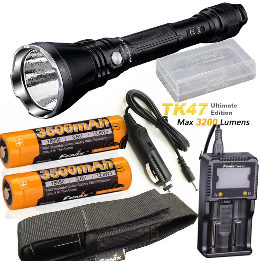 Fenix TK47 UE Ultimate Edition 3200 Lumen LED Tactical Flashlight with ARB-L18-3500 battery, ARE-C1+ charger, car charger