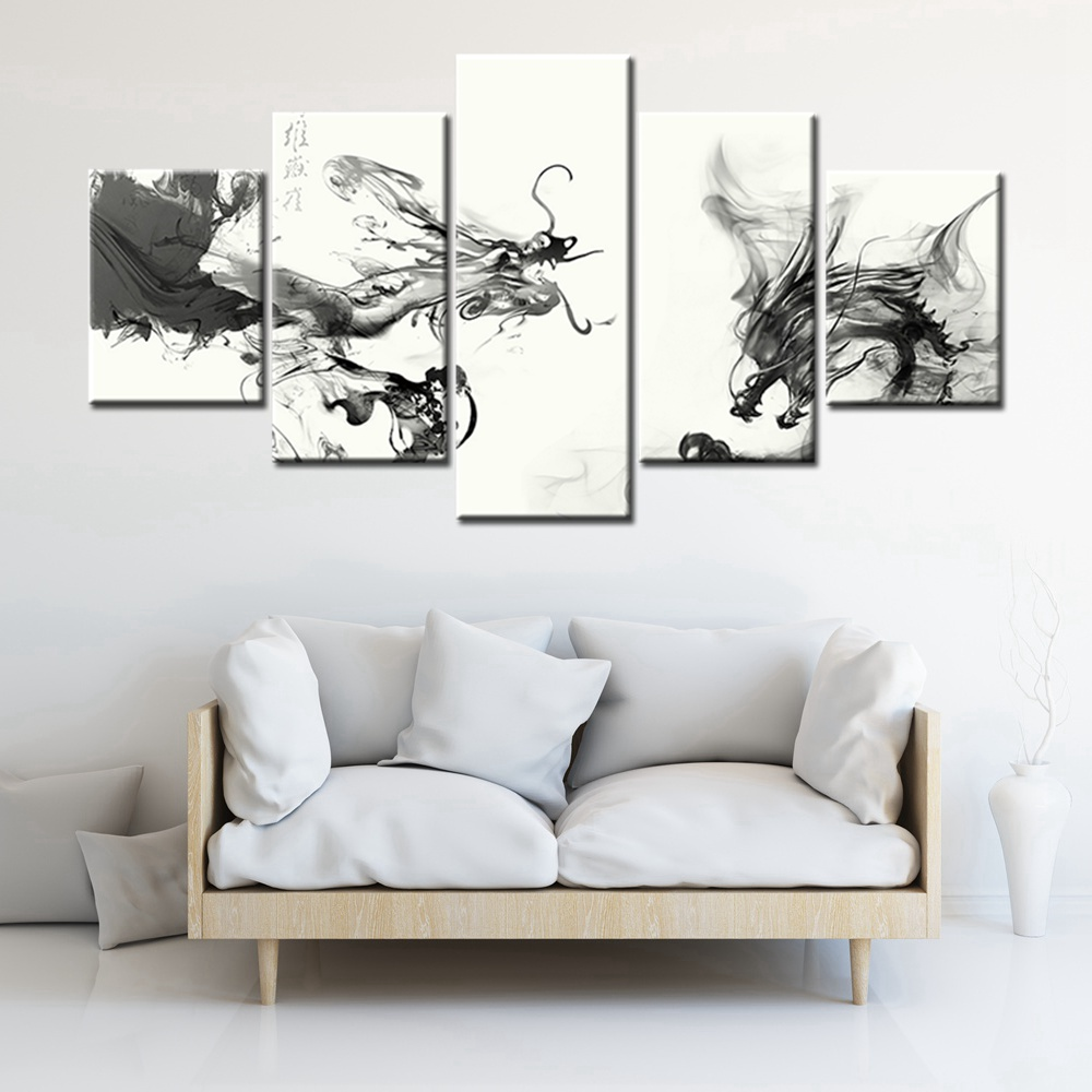Black and white china ink wash painting dragon imperial for Imperial home decor