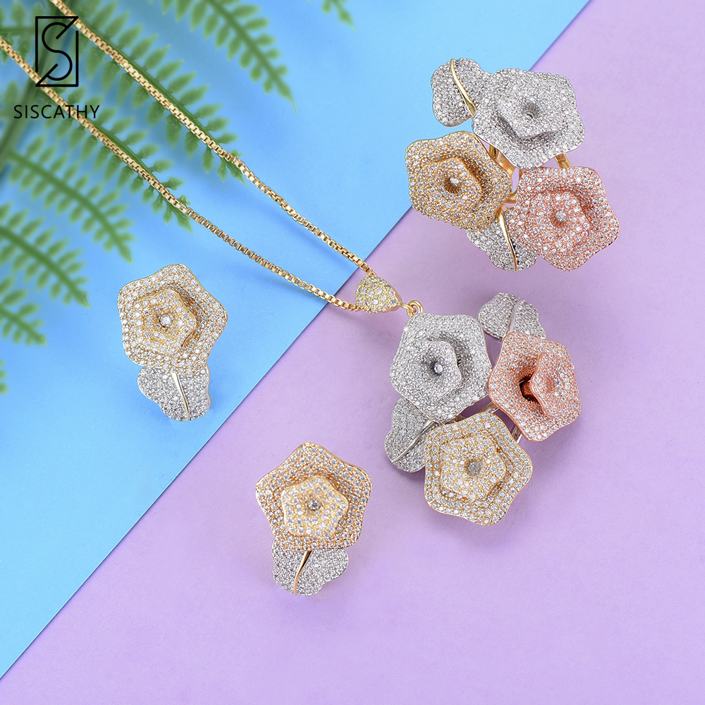 все цены на Women Fashion Flower Shape Dubai Wedding Necklace Stud Earrings Resizable Ring Jewelry Sets CZ Inlaid Jewelry ethiopian jewelry