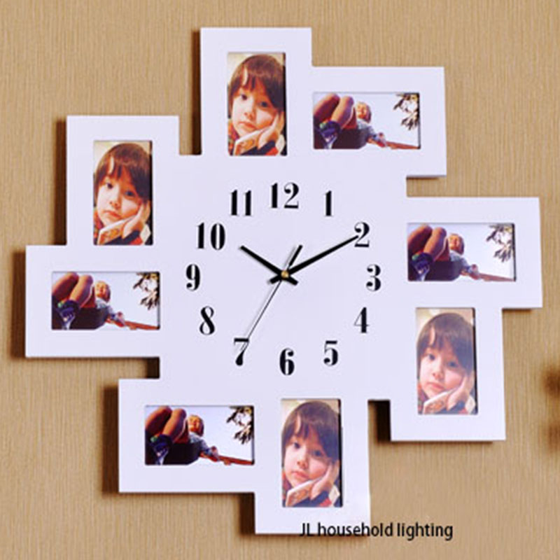 Black 8 Multi Photo Picture Large Number Wall Clock Aperture Frame