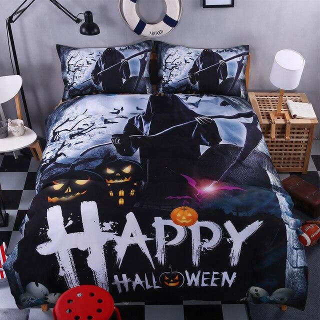 happy halloween bedding set kids queen king twin pumpkin lamp zombie black comforter duvet quilt cover