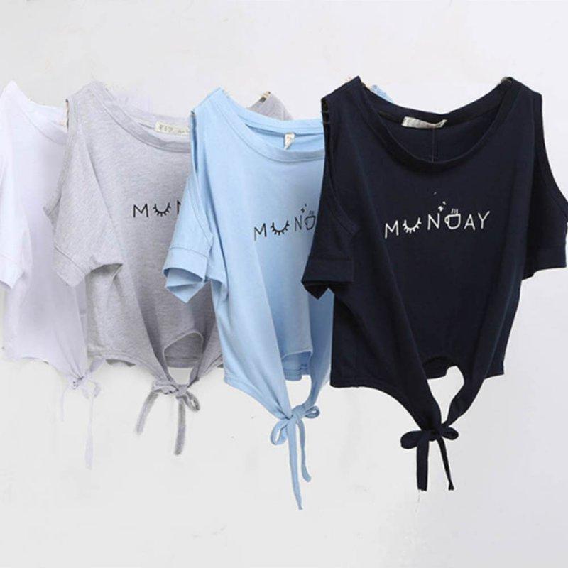 Fashion Ties Summer 2017 Women Elegant Letter Shoulder Off Print Loose Top 4 color T-shirt Casual Short Sleeve O neck Shirt