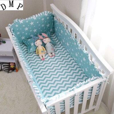 6PCS Cartoon Baby Girl Crib Bedding Set,Baby Accessories Protetor De Berço (4bumper+sheet+pillow Cover)
