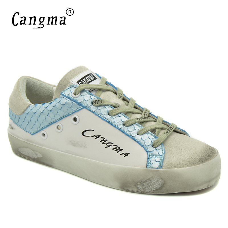 CANGMA Retro Women Footwear High Quality White And Sky Blue Casual Shoes For Woman Genuine Leather Sneakers Suede Comfort Flats blue sky чаша северный олень