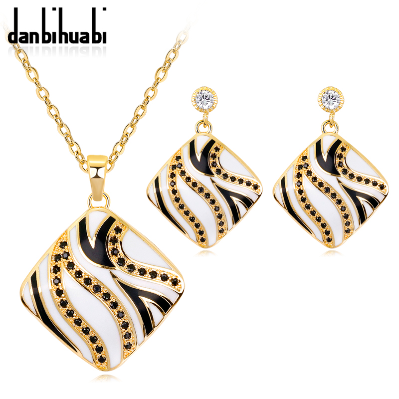 Trendy Black Rhinestone Enamel Jewelry Sets Necklace Earrings Costume Jewelry Sets for Women Gold Color Jewellery - Click Image to Close