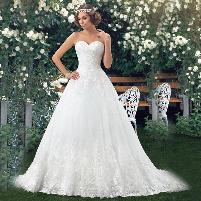 Vnaix W2073 Sweetheart Strapless Customized Floor Length Organza A Line LongTrain Lace Wedding Dresses 2015