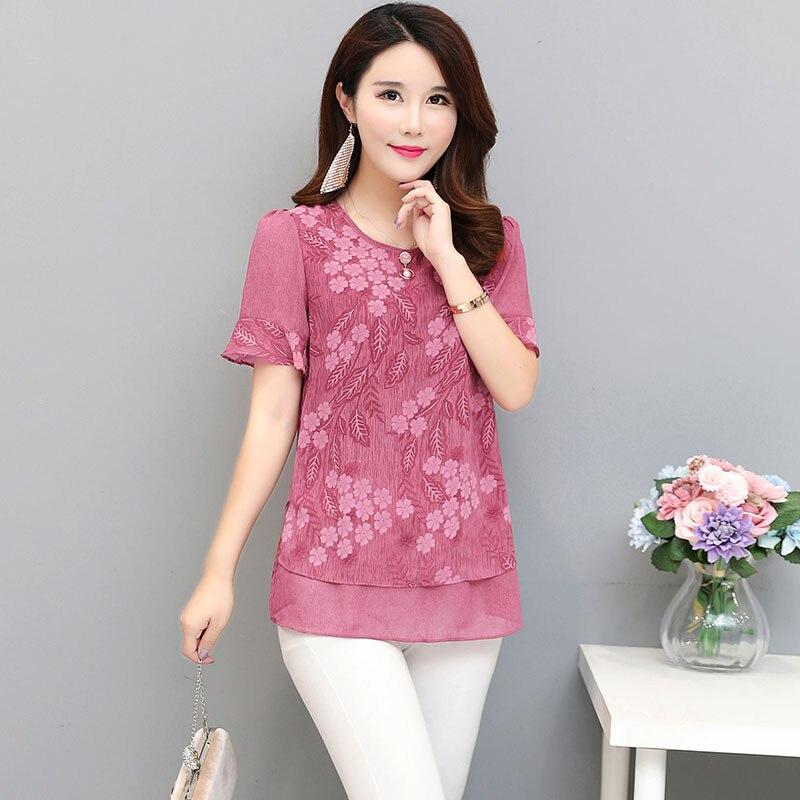בתוספת גודל 2018 חדש קיץ אופנה נשים חולצות הדפסת שיפון Slim דיו ציור קצר פסק חולצה חולצה אדום ירוק 8886
