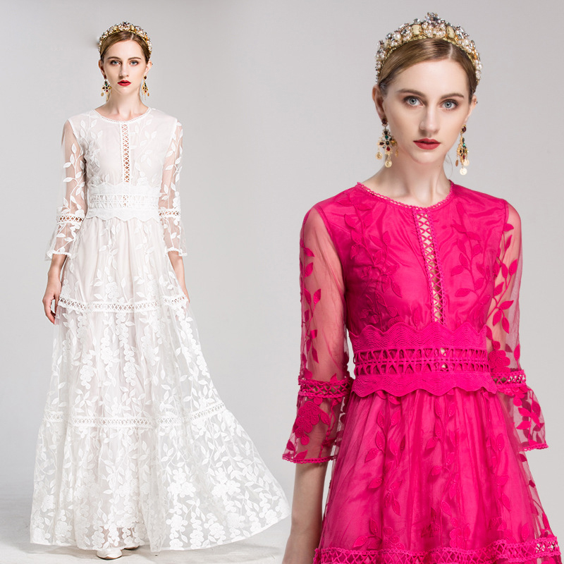 af749abba03eb High Quality Runway Fashion Designer Winter Maxi Dresses Women s White  Solid Embroidered Lace Luxury Party Long Dress Free DHL-in Dresses from  Women s ...