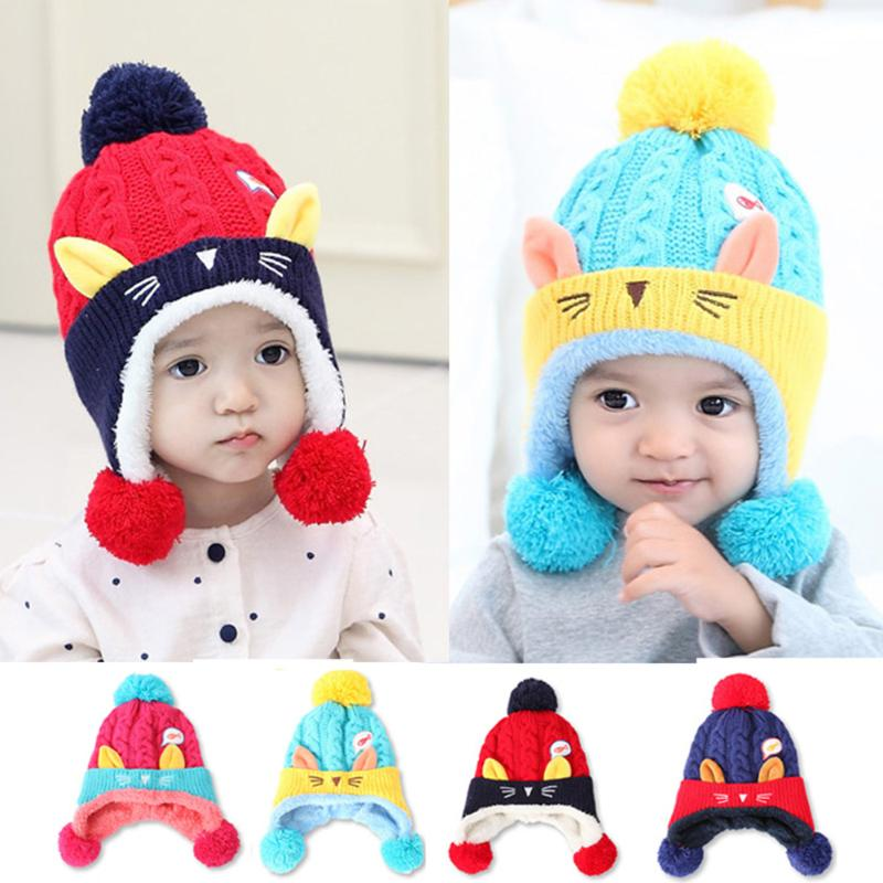 Cute Cartoon Winter Warm Baby Hat Beanie Cap Crochet Knitted Boys Girls Hat Thicken Lovely Animal Cat Ears Soft Comfortable Cap