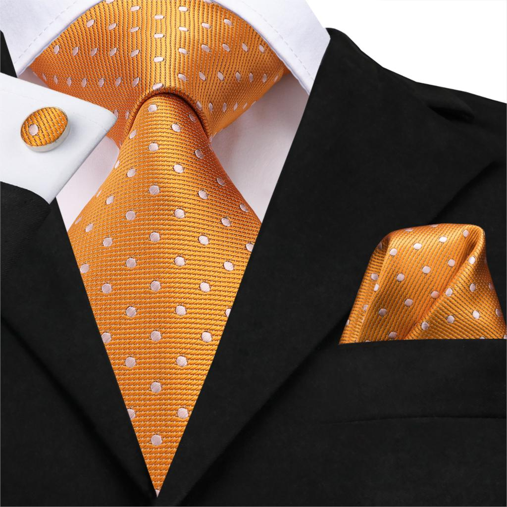 SN-3195 Hi-Tie Classic Ties For Man Silk Tie Fashion Solid Dots Business Neck Ties For Men Cravat Wedding Party Orange NeckTie