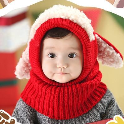 Winter Warm Baby Hat+Scarf Knitted Cartoon Dog Cap For Baby Girl 0-3 Years Children Crochet Hat Autumn Toddler Baby Beanie