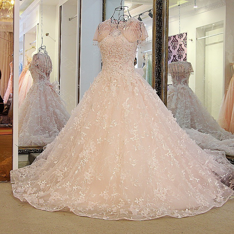 LS32789 Women long evening dresses lace sexy backless beaded tulle ball gown long prom formal dress pink and light blue