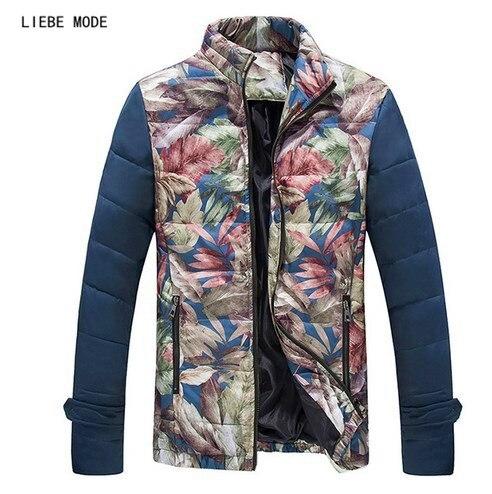 ca7b321df3 Mâle Vêtements D'hiver Parka Hommes Imprimé floral Élégant de Neige Chaud  Matelassé manteau Plus