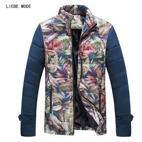 Male Winter Wear Parka Mens Floral Print Stylish Snow Warm Quilted Coat Plus Size Padded Jacket For Men Slim Cotton Down Outwear