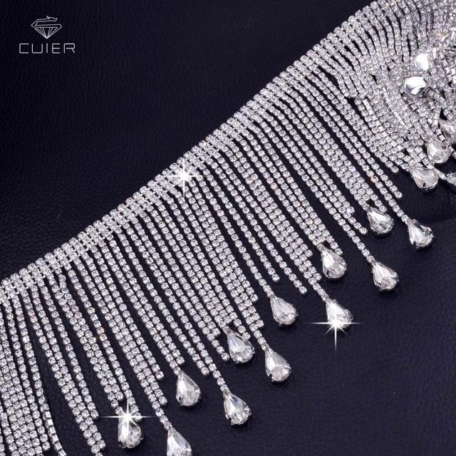 10yards very luxury Crystal Glass Rhinestone tassel trims Sew on Trops  chain decoration for Bridal dress Clothing Garment 041fa36e0a79