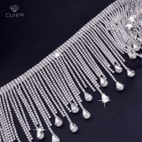 10yards very luxury Crystal Glass Rhinestone tassel trims Sew on Trops chain decoration for Bridal dress Clothing Garment