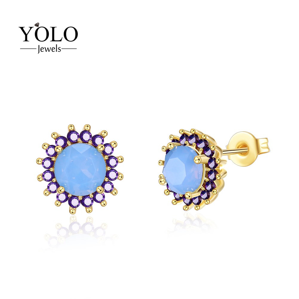 Female Stud Earrings with Shining Biue Opal Fashion Jewelry Design Earring with Flower Shape Suitable for Party