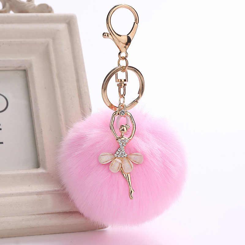 RZ Falsa Pele De Coelho Bola Pom Pom KeyChain Ballet Menina Anjo coelho pompom chaveiro chaveiros em cores múltiplas mulheres J1740
