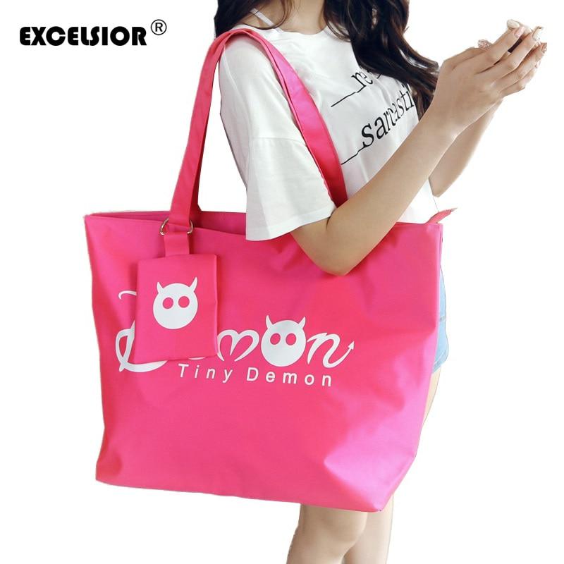 Women Shopping Handbag - Waterproof Shopping Tote Zipper One shoulder bag