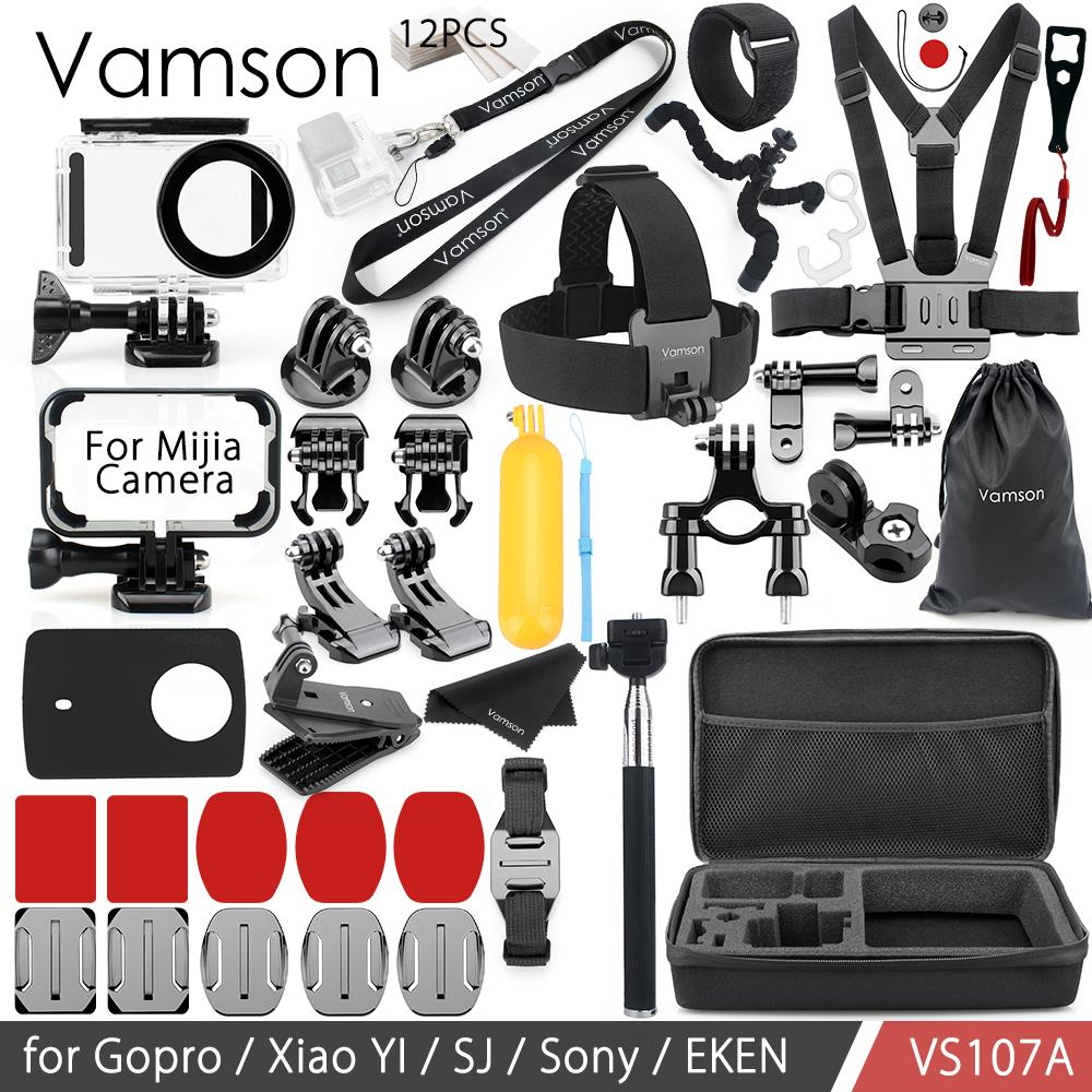 Vamson For Xiaomi MIAJIA Accessories Kit Mount Tripod Waterproof Housing Case/Frame Silicone Neck Strap Camera VS107 nereus 10 meter waterproof housing kit for digital camera dc wp20
