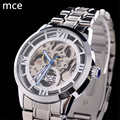 MCE Fashion Luxury Brand Automatic Self Wind Watches Full Stainless Steel Silver Skeleton Mechanical Watch Men Relogio Masculino