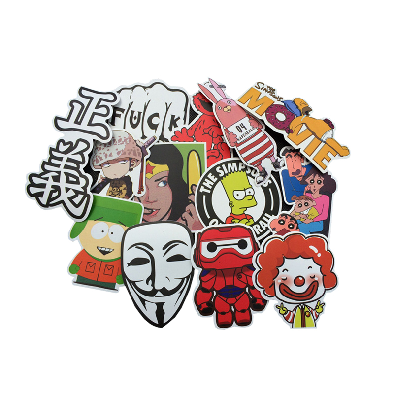 100 pcsset mixed stickers kids adult funny toys for laptop skateboard luggage fridge home halloween decoration fun game gifts