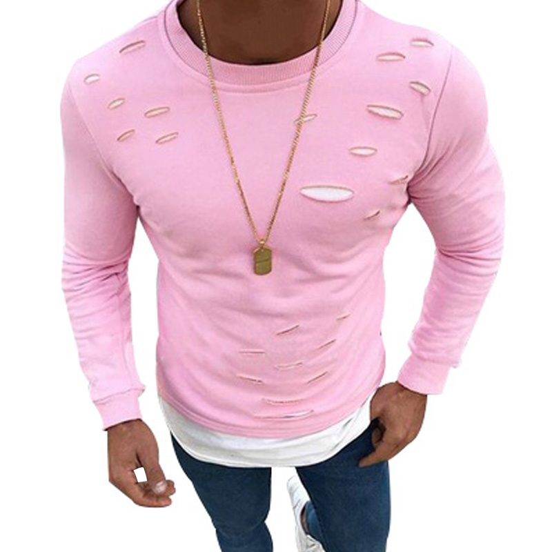 2018 New Spring Fake Two Pieces Hole Irregular Mens T-Shirt Good Quality Patchwork Elastic Long Sleeve Male Solid O-Neck Tshirt 2