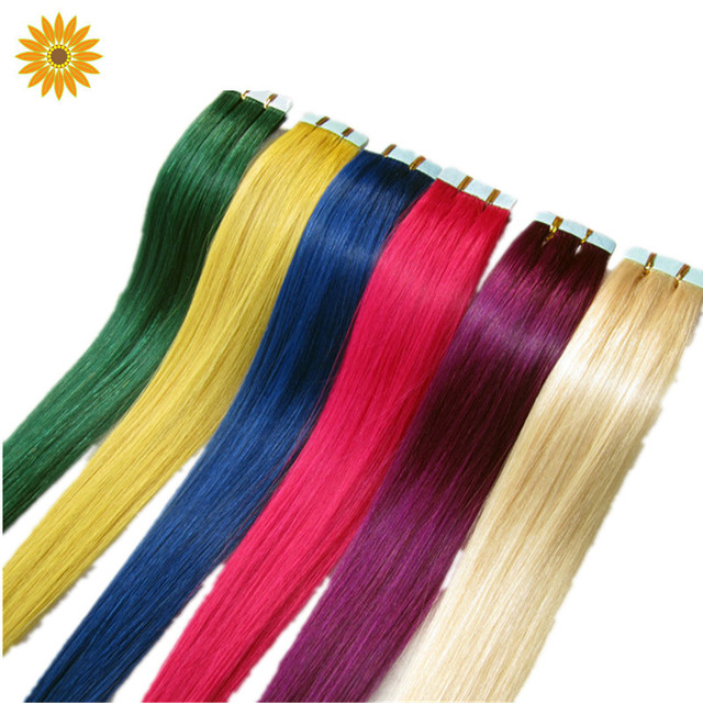 1pc Straight Synthetic Solid Colored Hair Extension Tape Hair