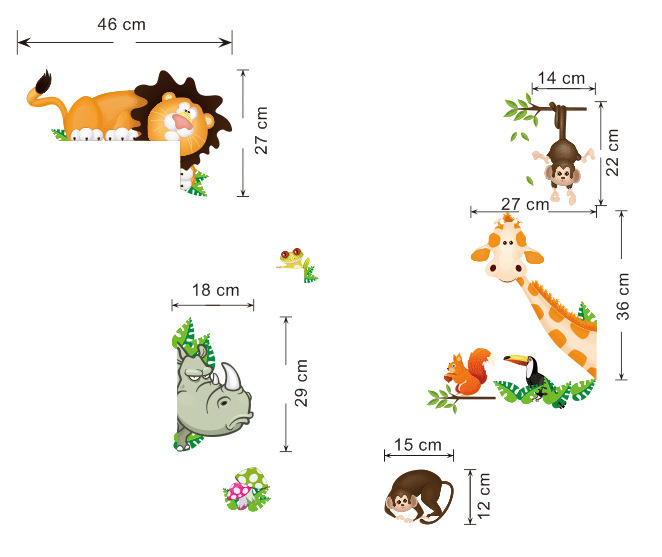 Aliexpress.com : Buy Tropical Jungle Wall Stickers Kids Home Rooms Window  Decoration Animals Wall Papers Amazon River Style Decals From Reliable Jungle  Wall ... Part 40