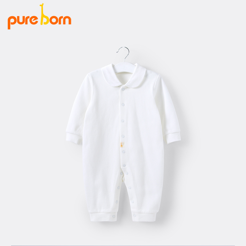 Pureborn Baby Boys Girs White   Romper   for Newborns Onesies Footless Autumn Baby Overall Cotton Long Sleeve Jumpsuits Sleepwear