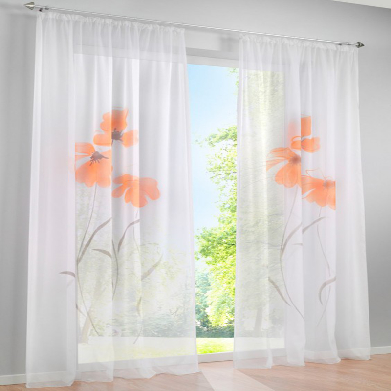 Tulle Window Curtain For Living Room Flower Curtains For Bedroom Decoration Orange  Curtains Custom Window Curtain
