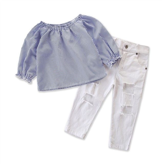 7f2450a628795 Kids Baby Girl Striped Outfit Set Shirt T-shirt Tops+Torn White Long Pants  Jeans Clothes