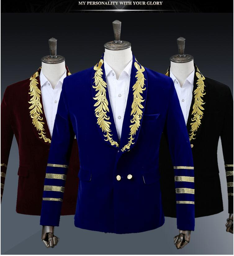 New Arrival Fashion Brand Men\'s Suits Blazers Gold Embroidery Slim ...