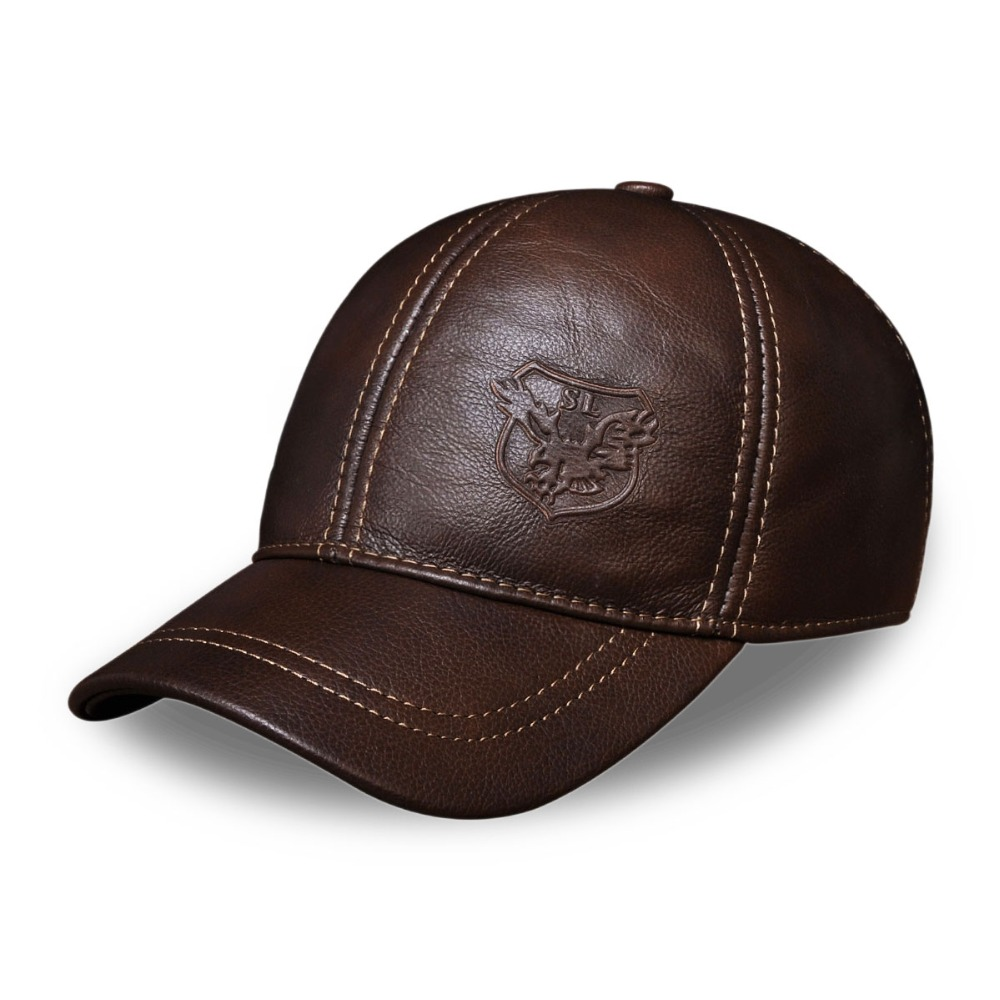 Hl spring free shipping genuine leather baseball cap in men brand new warm  real cow leather 06a481e36079