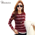 Striped Knitted Bottoming Shirt 2017 Spring New Slim Women Shirt Korean Style Fashion Full Sleeve O-neck Black Shirt Women