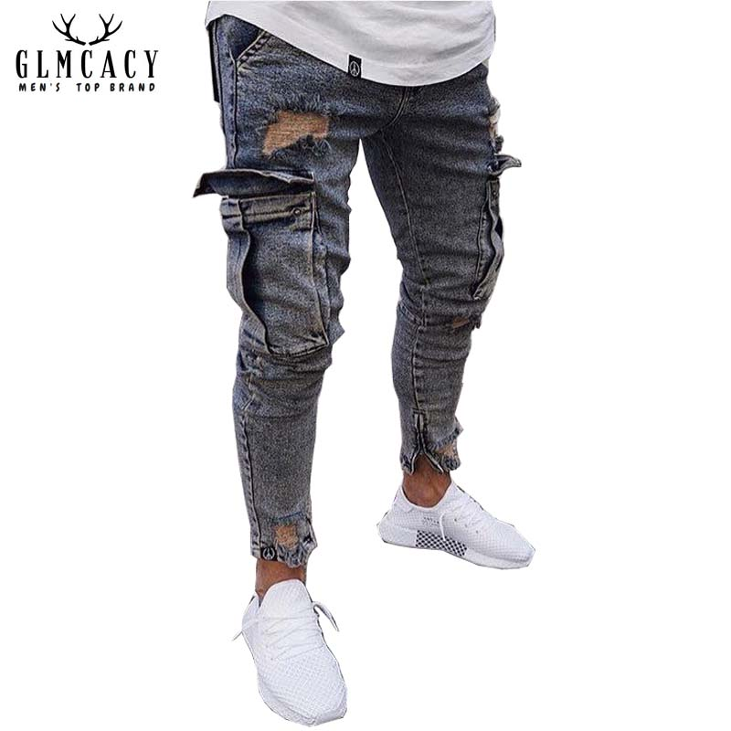 Männer Zerrissene Dünne Distressed Zerstört Gerade Fit Side Taschen Zipper Jeans mit Löchern Streetwear Zerrissene Jeans