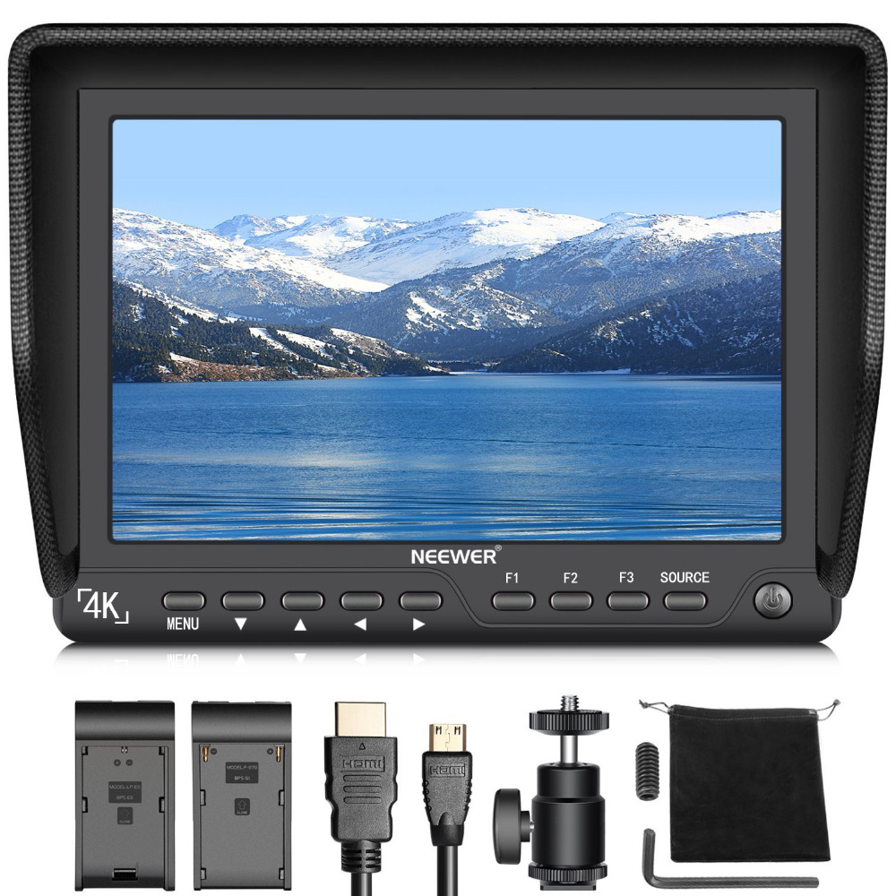 Neewer 7 inches 4K HD On-Camera Field Monitor with HDMI Input Output Signals 10-Bit IPS Screen 1920X1200 High Resolution lilliput tm 1018 o p 10 1 led ips full hd hdmi field touch screen camera monitor with hdmi input