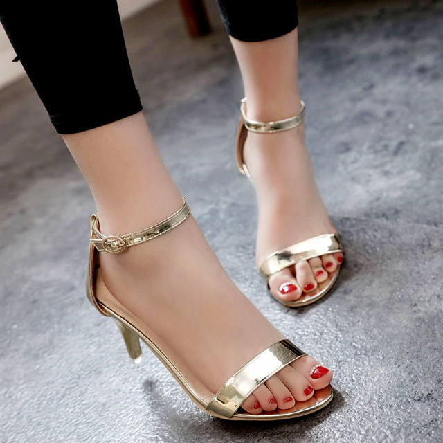 Women High Heels Gladiator Sandals Women 2017 Summer High Heels Shoes Women Sexy Pointed Toe PU Womans Sandals Pumps Gold Silver