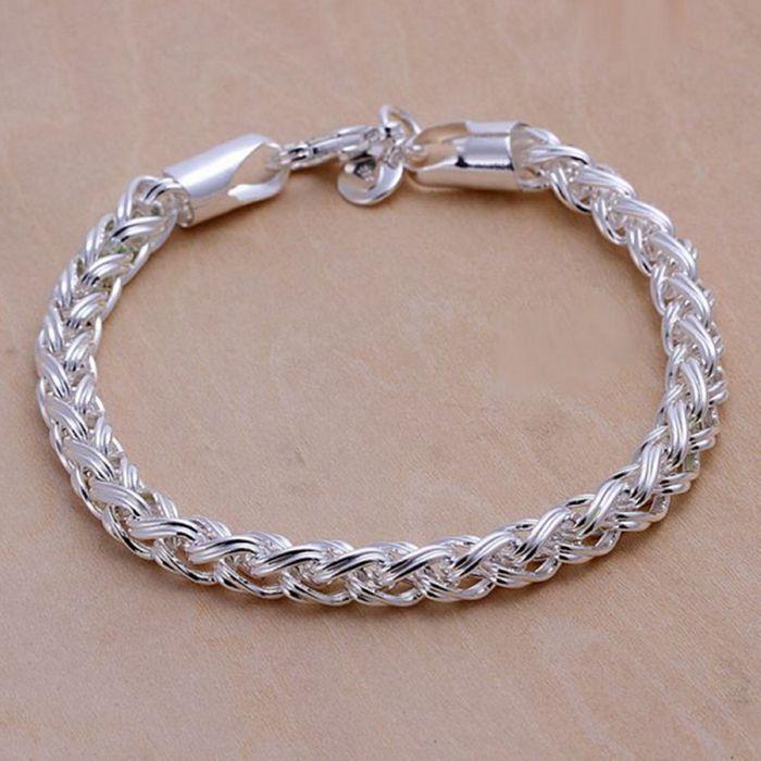 Christmas gift 2016 New 925 jewelry silver plated Fashion Jewelry Twist Circle bracelets&bangle,Wholesale jewelry SMTH070