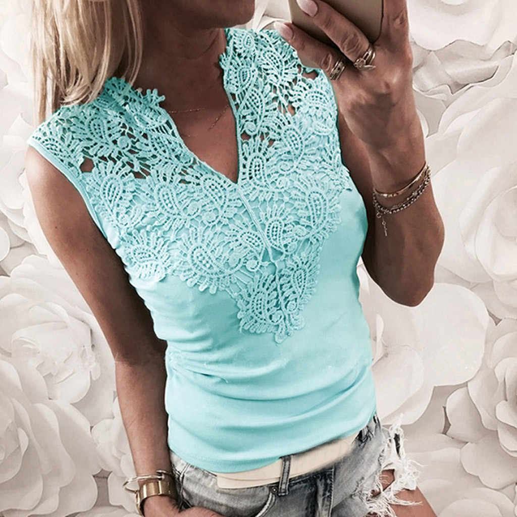 Kadın Gömlek Moda Katı Kolsuz Patchwork V Yaka Gömlek Tankı Yelek Bluz camiseta mujer chemise femme