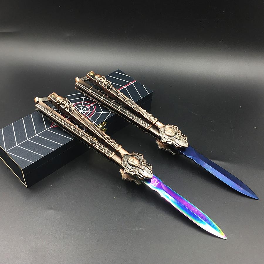 Praxis messer schmetterling in messer ausbildung messer klinge Karambit folding Messer geschenk trainer edelstahl + holz geschenk box