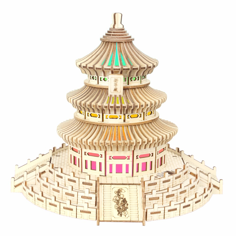 Beijing Temple of Heaven atmosphere night light Kids toys 3D Puzzle wooden toys Wooden Puzzle Educational toys for Children brand new yuxin zhisheng huanglong high bright stickerless 9x9x9 speed magic cube puzzle game cubes educational toys for kids