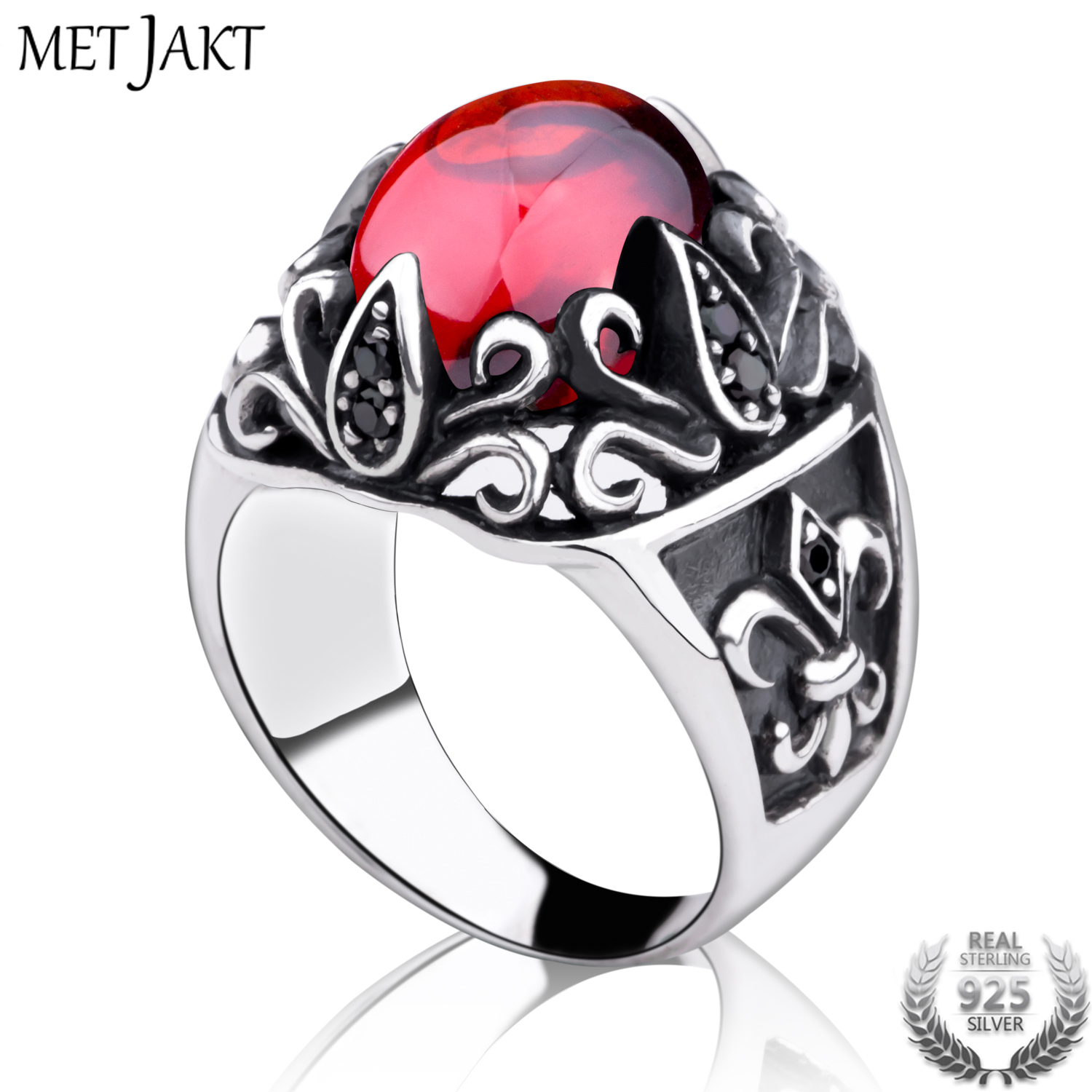MetJakt Punk Sirius's Eye Garnet Ring with Obsidian Solid 925 Sterling Silver Ring for Women and Men Handmade Jewelry