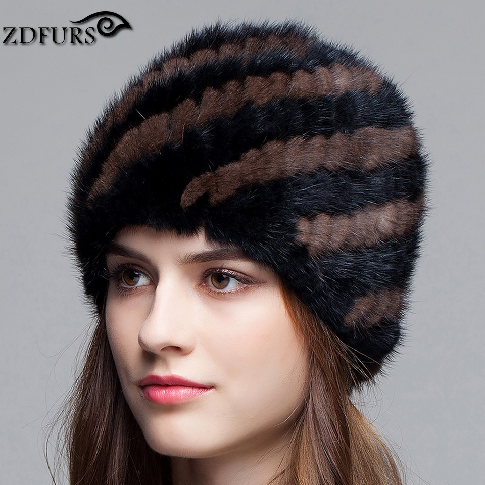 ZDFURS *Winter Warm Hat for Women Real Mink Fur Knitted Beanies Cap Female Hats with Lining knitted mink fur hat ZDH-161017