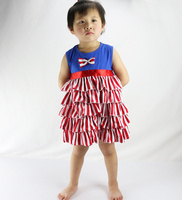 New Brand Baby Kid Girls Sleeveless One Piece Dress Blue Top With Red Striped Ruffles And Bowknot Tutu Dresses Summer