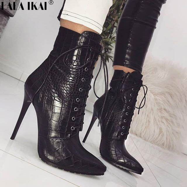 LALA IKAI Ankle Boots For Women Pointed Toe PU Leather Autumn Snake Print Cross-Tied Thin Heels Ladies Platform Boots XWC2541-5 magicool 140 ex slim 140mm copper radiator water cooler double fins coolgate hd