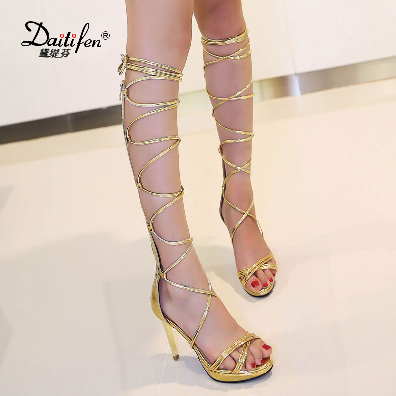 Daitifen New Gladiator Sandals Sheep leather Womens Knee High Gladiator Sandals Summer Lace Up High Heel Comfort Party Shoes women sandals gladiator genuine leather studded gladiator transparent sandals heel womens shoes beige black summer high heels