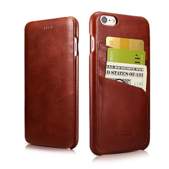 Originální držák karty ICARER originální kožené pouzdro pro iPhone 6 6,7,7 palcový, vinobraní, flip kryt, zadní kryt na kartu
